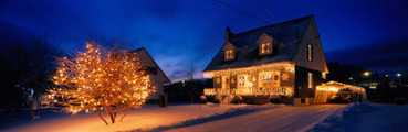 House with Christmas Lights, Laurentians, Canada