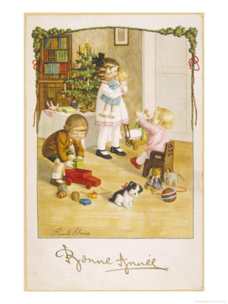 Three Young Children Play with Their Christmas Presents