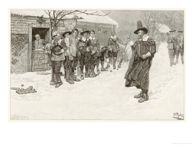 Puritan Governor Interrupts Christmas Sporting Activities Amongst Early American Settlers