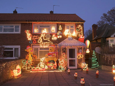 Suburban House with Christmas Lights and Decorations, Surrey, England, United Kingdom