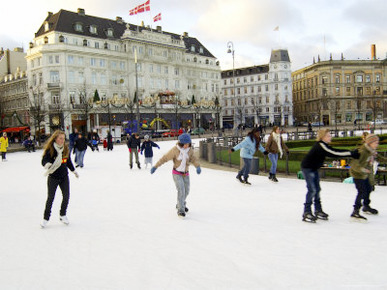 Hotel d'Angleterre and Skating Rink, Kongens Nytorv at Christmas, Copenhagen, Denmark